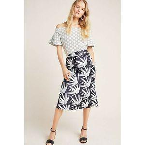 New Anthropologie Isla Bias Palm Print Midi Skirt